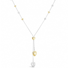 Gold Plated Long Heart Lariat Necklace with Heart Pendants